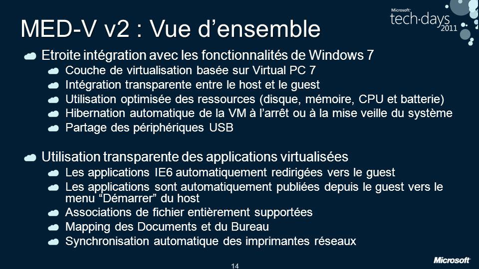14 MED-V v2 : Vue densemble Etroite intégration avec les fonctionnalités de Windows 7 Couche de virtualisation basée sur Virtual PC 7 Intégration tran