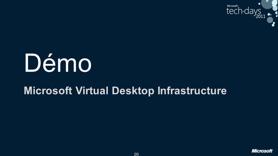 20 Démo Microsoft Virtual Desktop Infrastructure