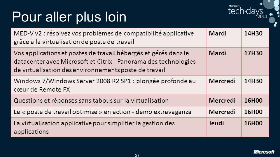27 Pour aller plus loin MED-V v2 : résolvez vos problèmes de compatibilité applicative grâce à la virtualisation de poste de travail Mardi14H30 Vos ap