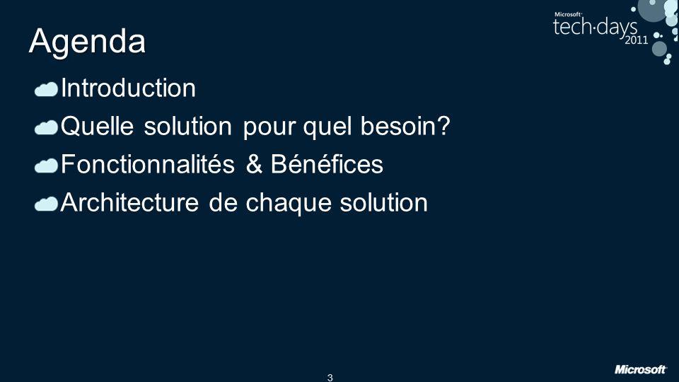 3 Agenda Introduction Quelle solution pour quel besoin? Fonctionnalités & Bénéfices Architecture de chaque solution