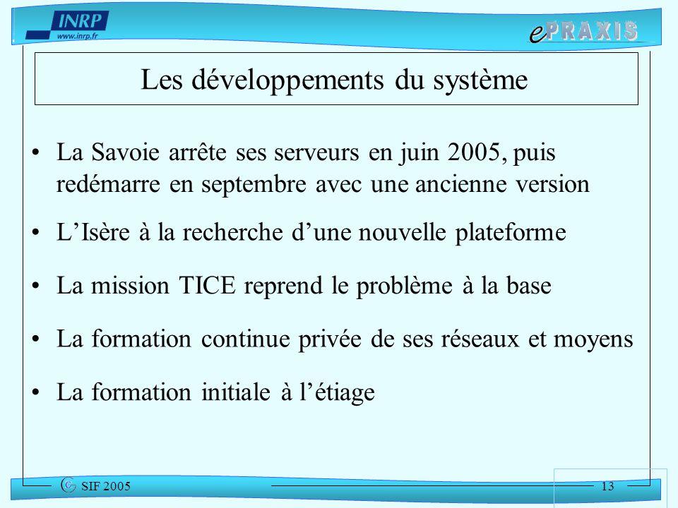 13 SIF 2005 Les développements du système LIsère à la recherche dune nouvelle plateforme La mission TICE reprend le problème à la base La Savoie arrêt