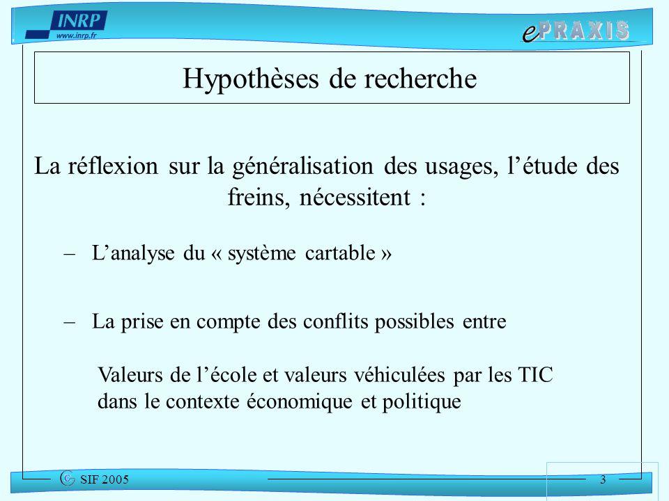 3 SIF 2005 Hypothèses de recherche La réflexion sur la généralisation des usages, létude des freins, nécessitent : – La prise en compte des conflits p