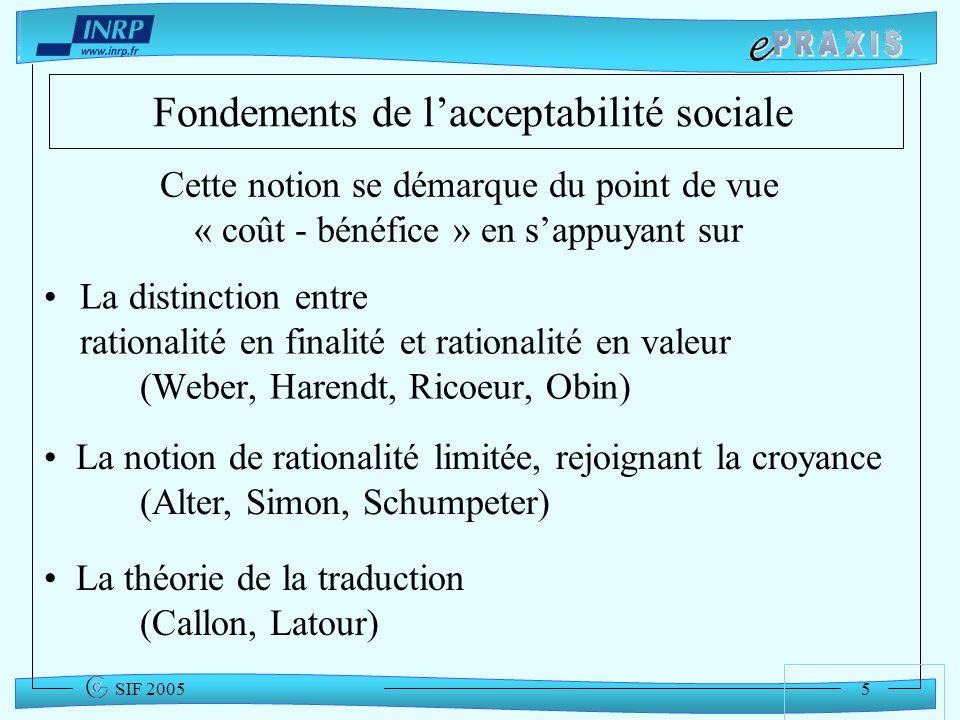 5 SIF 2005 Fondements de lacceptabilité sociale La distinction entre rationalité en finalité et rationalité en valeur (Weber, Harendt, Ricoeur, Obin)