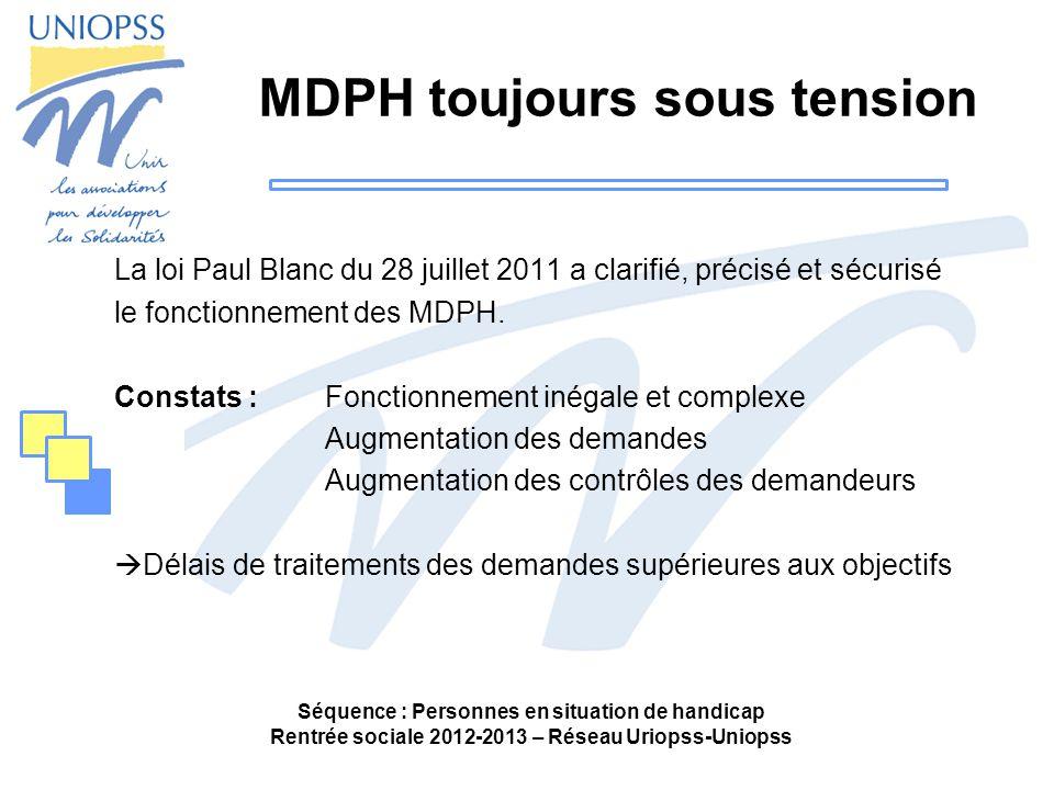 Séquence : Personnes en situation de handicap Rentrée sociale 2012-2013 – Réseau Uriopss-Uniopss MDPH toujours sous tension La loi Paul Blanc du 28 juillet 2011 a clarifié, précisé et sécurisé le fonctionnement des MDPH.