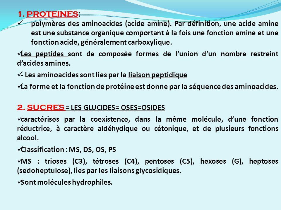 1. PROTEINES: polymères des aminoacides (acide amine). Par définition, une acide amine est une substance organique comportant à la fois une fonction a
