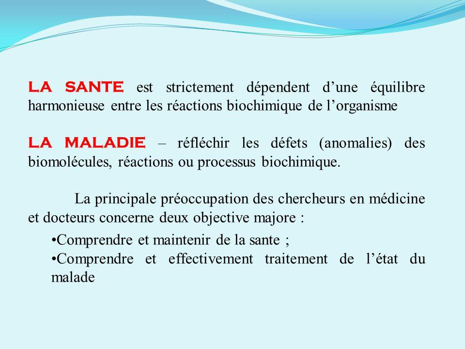 LA SANTE est strictement dépendent dune équilibre harmonieuse entre les réactions biochimique de lorganisme LA MALADIE – réfléchir les défets (anomali