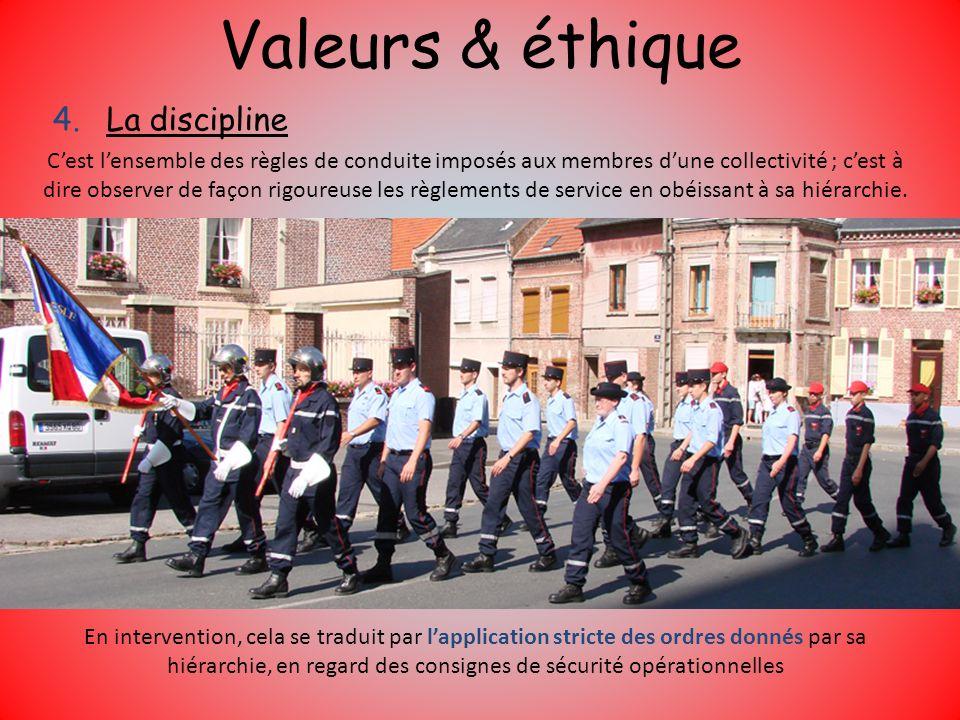 Valeurs & éthique 4.La discipline Cest lensemble des règles de conduite imposés aux membres dune collectivité ; cest à dire observer de façon rigoureu