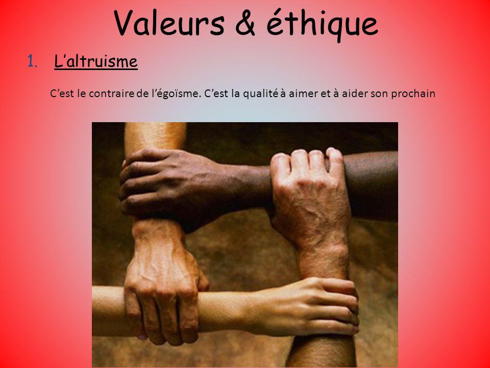 Valeurs & éthique 1.Laltruisme Cest le contraire de légoïsme. Cest la qualité à aimer et à aider son prochain
