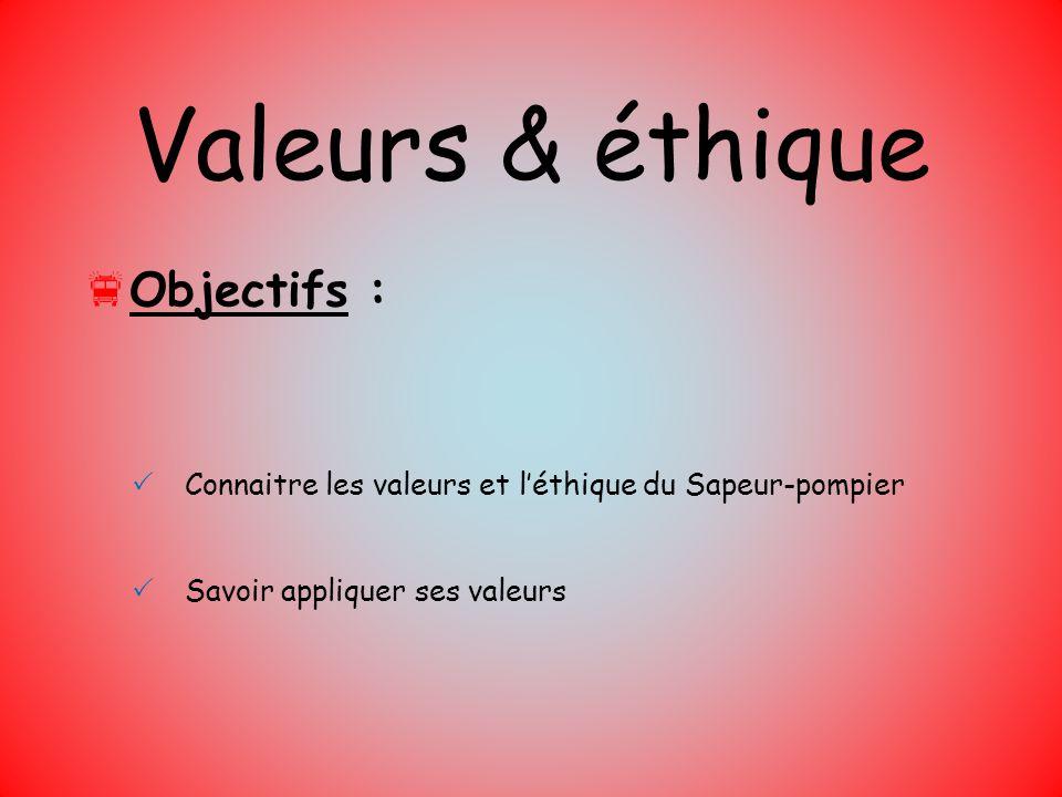 Valeurs & éthique Objectifs : Connaitre les valeurs et léthique du Sapeur-pompier Savoir appliquer ses valeurs