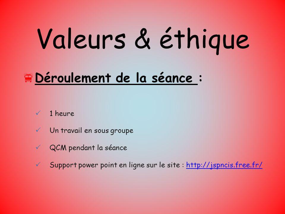 Valeurs & éthique Déroulement de la séance : 1 heure Un travail en sous groupe QCM pendant la séance Support power point en ligne sur le site : http:/