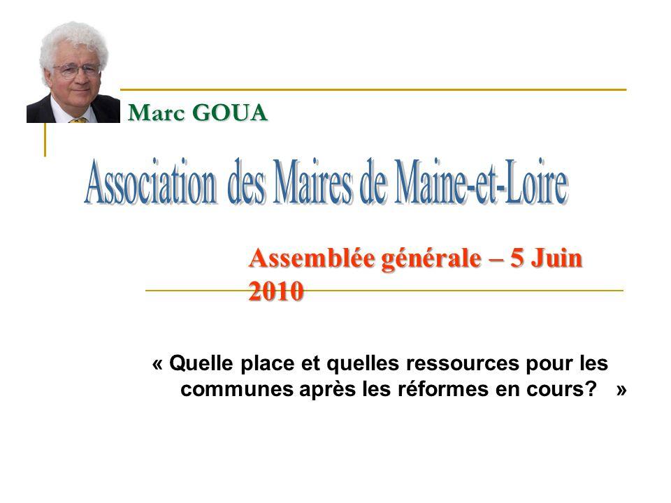 Marc GOUA « Quelle place et quelles ressources pour les communes après les réformes en cours? » Assemblée générale – 5 Juin 2010