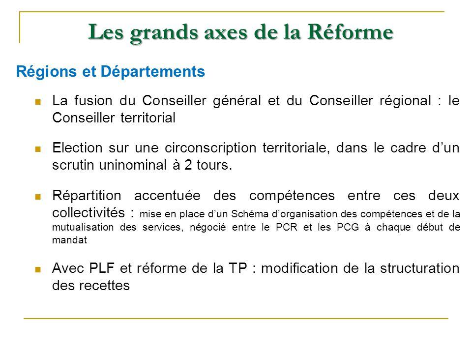 Les grands axes de la Réforme La fusion du Conseiller général et du Conseiller régional : le Conseiller territorial Election sur une circonscription t