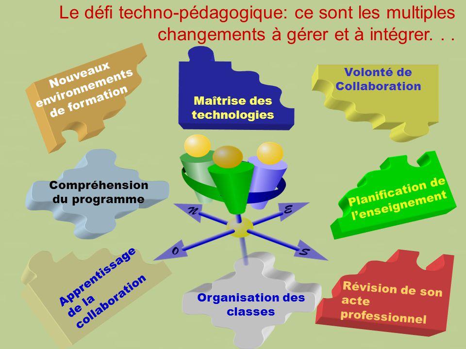 Le défi techno-pédagogique: ce sont les multiples changements à gérer et à intégrer...