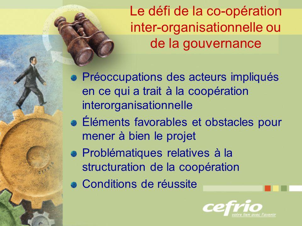 Le défi de la co-opération inter-organisationnelle ou de la gouvernance Préoccupations des acteurs impliqués en ce qui a trait à la coopération interorganisationnelle Éléments favorables et obstacles pour mener à bien le projet Problématiques relatives à la structuration de la coopération Conditions de réussite