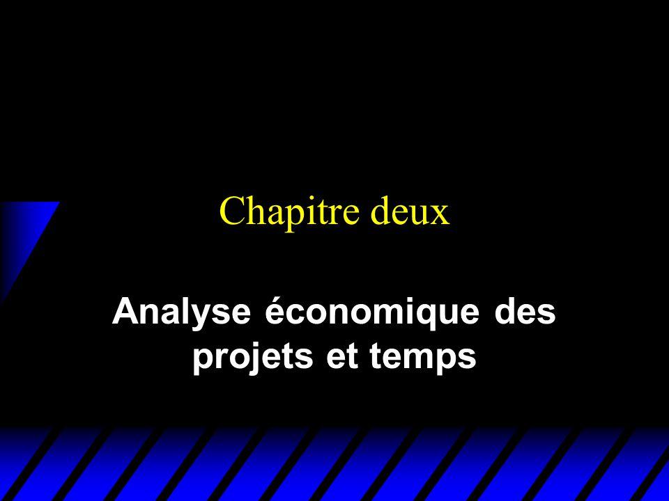 Chapitre deux Analyse économique des projets et temps