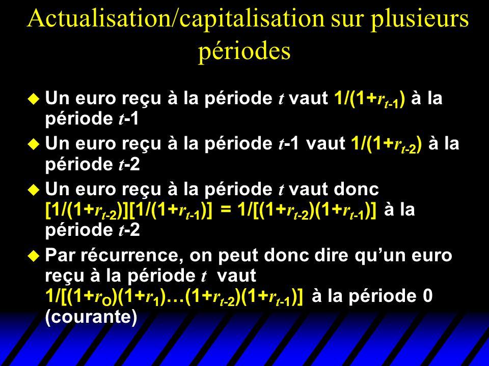 Actualisation/capitalisation sur plusieurs périodes Un euro reçu à la période t vaut 1/(1+ r t -1 ) à la période t -1 Un euro reçu à la période t -1 v