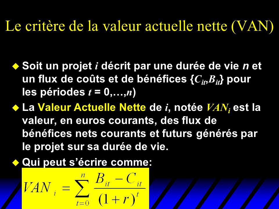Le critère de la valeur actuelle nette (VAN) Soit un projet i décrit par une durée de vie n et un flux de coûts et de bénéfices { C it, B it } pour le