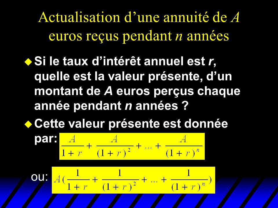 Actualisation dune annuité de A euros reçus pendant n années u Si le taux dintérêt annuel est r, quelle est la valeur présente, dun montant de A euros