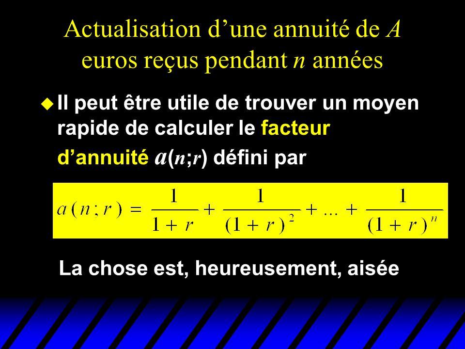 Actualisation dune annuité de A euros reçus pendant n années Il peut être utile de trouver un moyen rapide de calculer le facteur dannuité a ( n ; r )