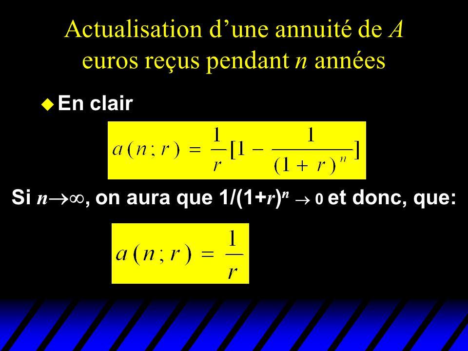 Actualisation dune annuité de A euros reçus pendant n années u En clair Si n, on aura que 1/(1+ r ) n 0 et donc, que: