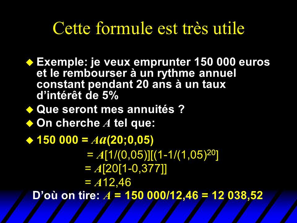 Cette formule est très utile u Exemple: je veux emprunter 150 000 euros et le rembourser à un rythme annuel constant pendant 20 ans à un taux dintérêt