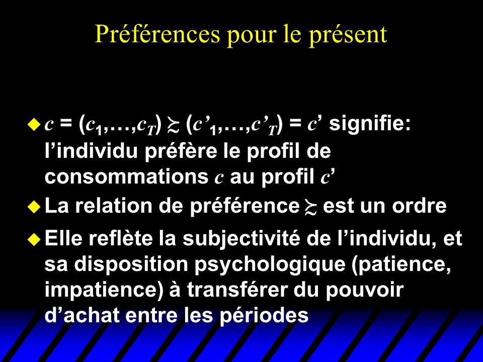 Préférences pour le présent c = ( c 1,…, c T ) ( c 1,…, c T ) = c signifie: lindividu préfère le profil de consommations c au profil c u La relation d