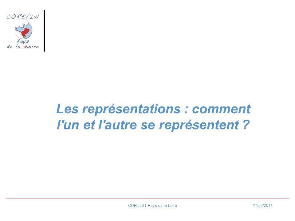 17/06/2014COREVIH Pays de la Loire Les représentations : comment l'un et l'autre se représentent ?