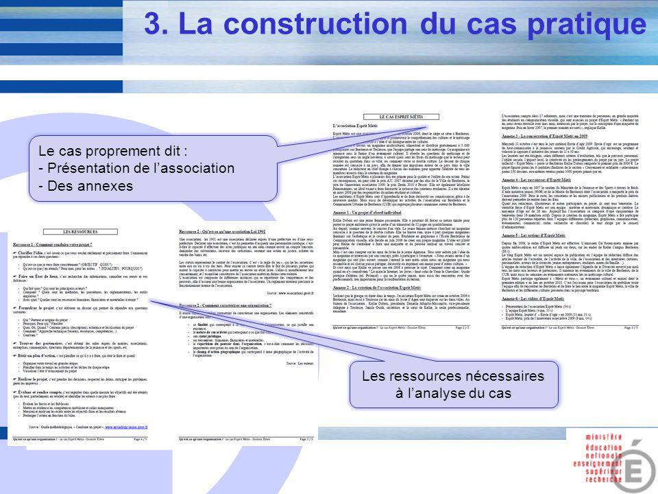 E 7 3. La construction du cas pratique Le cas proprement dit : - Présentation de lassociation - Des annexes Le cas proprement dit : - Présentation de