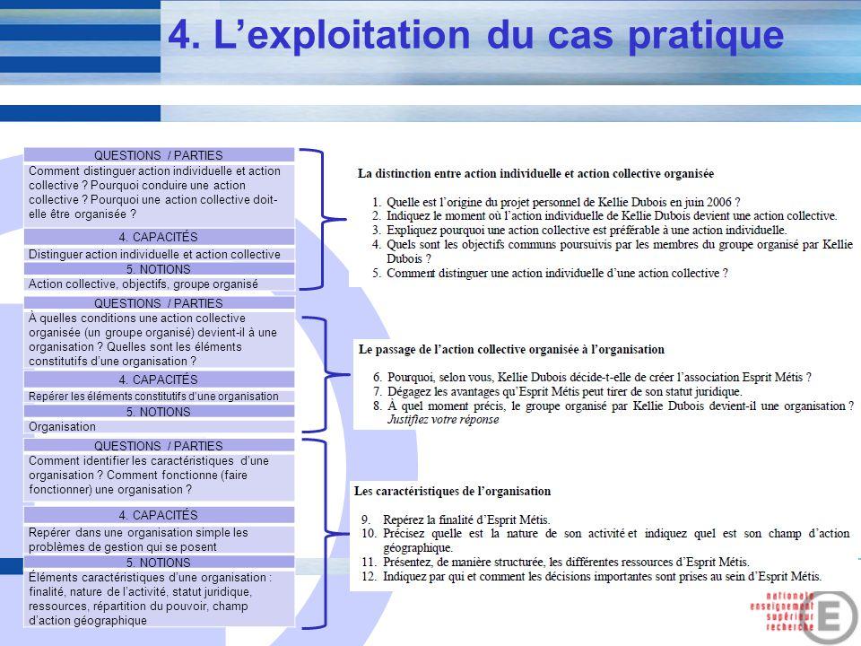 E 8 4. Lexploitation du cas pratique QUESTIONS / PARTIES Comment distinguer action individuelle et action collective ? Pourquoi conduire une action co