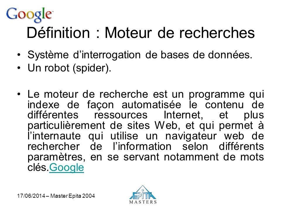 17/06/2014 – Master Epita 2004 Définition : Moteur de recherches Système dinterrogation de bases de données. Un robot (spider). Le moteur de recherche