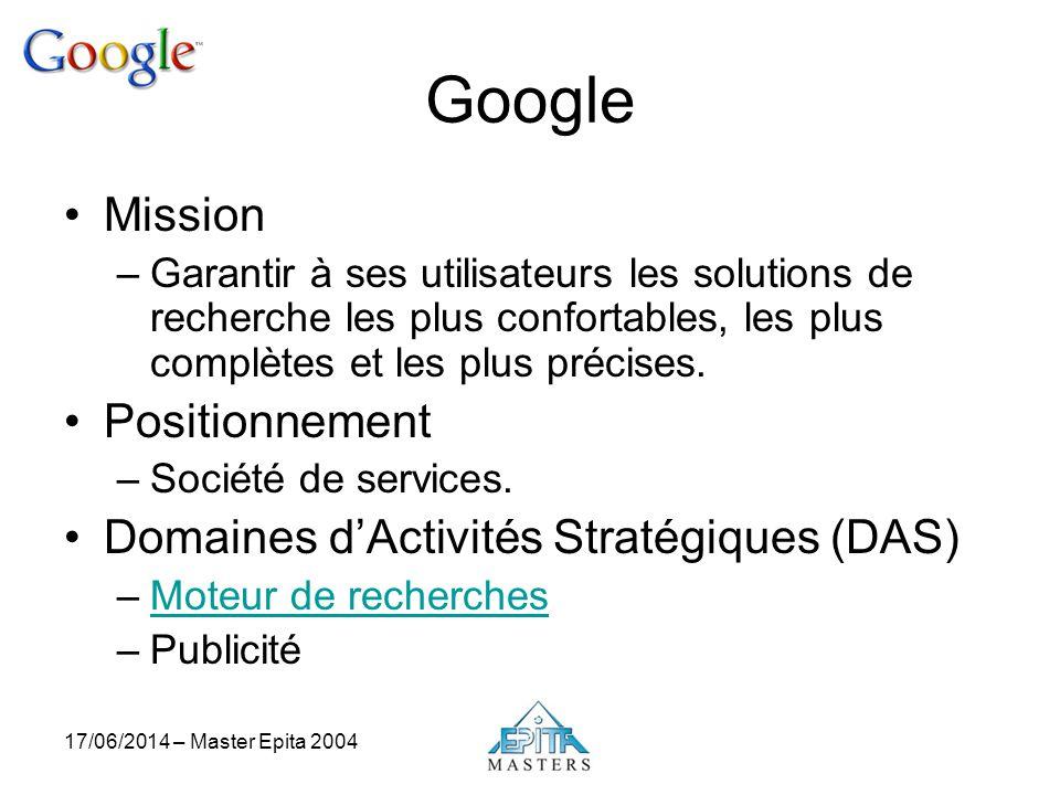 17/06/2014 – Master Epita 2004 Google Mission –Garantir à ses utilisateurs les solutions de recherche les plus confortables, les plus complètes et les