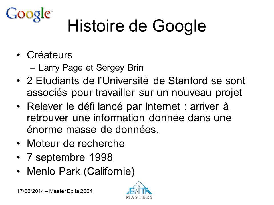 17/06/2014 – Master Epita 2004 Histoire de Google Créateurs –Larry Page et Sergey Brin 2 Etudiants de lUniversité de Stanford se sont associés pour tr
