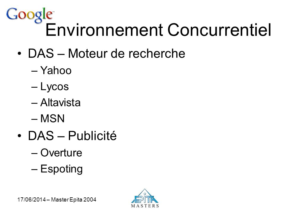 17/06/2014 – Master Epita 2004 Environnement Concurrentiel DAS – Moteur de recherche –Yahoo –Lycos –Altavista –MSN DAS – Publicité –Overture –Espoting