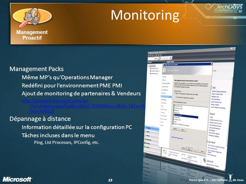 13 Management Proactif Monitoring Management Packs Même MPs quOperations Manager Redéfini pour lenvironnement PME PMI Ajout de monitoring de partenair