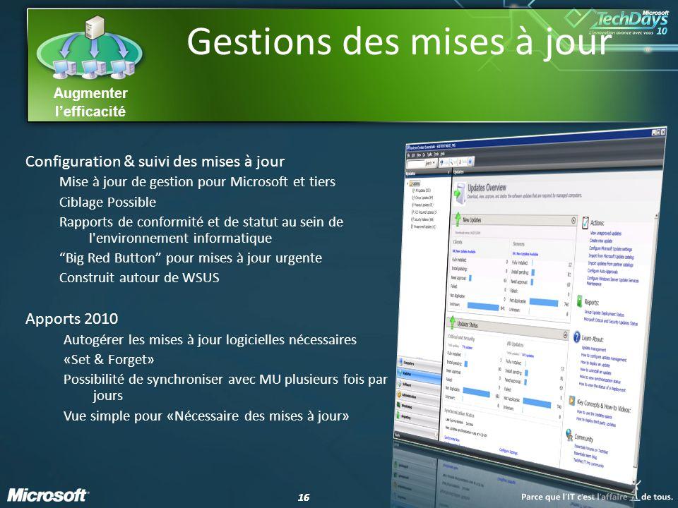 16 Augmenter lefficacité Gestions des mises à jour Configuration & suivi des mises à jour Mise à jour de gestion pour Microsoft et tiers Ciblage Possi