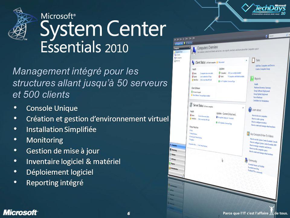 66 Console Unique Console Unique Création et gestion denvironnement virtuel Création et gestion denvironnement virtuel Installation Simplifiée Install
