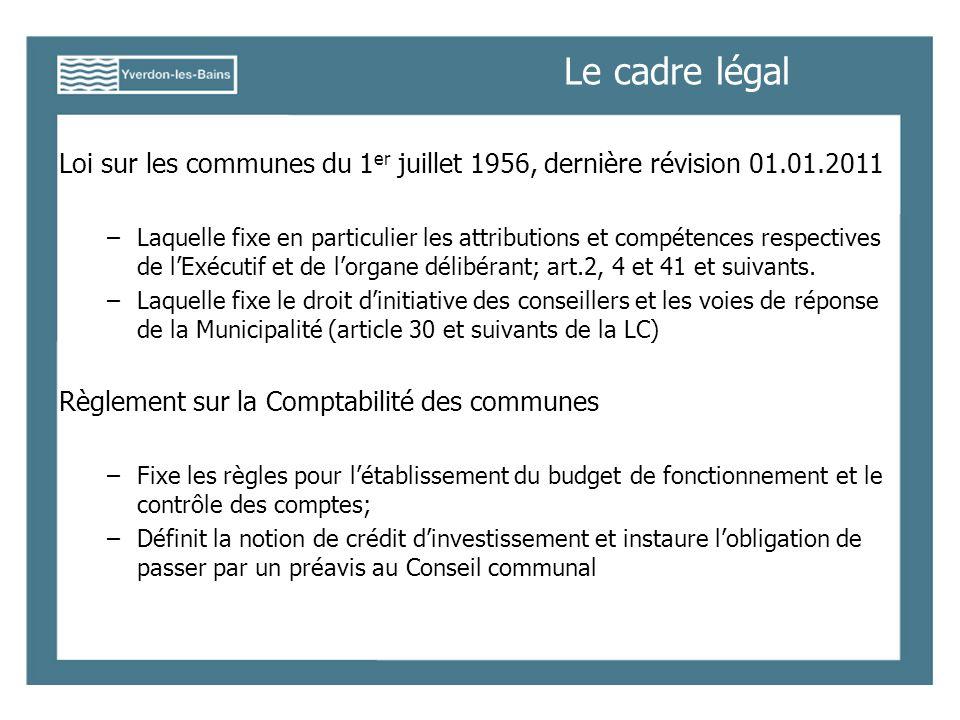 Le cadre légal Loi sur les communes du 1 er juillet 1956, dernière révision 01.01.2011 –Laquelle fixe en particulier les attributions et compétences respectives de lExécutif et de lorgane délibérant; art.2, 4 et 41 et suivants.
