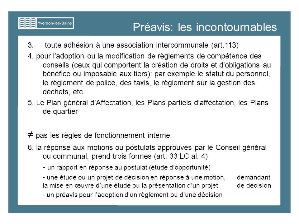 Préavis: les incontournables 3. toute adhésion à une association intercommunale (art.113) 4.