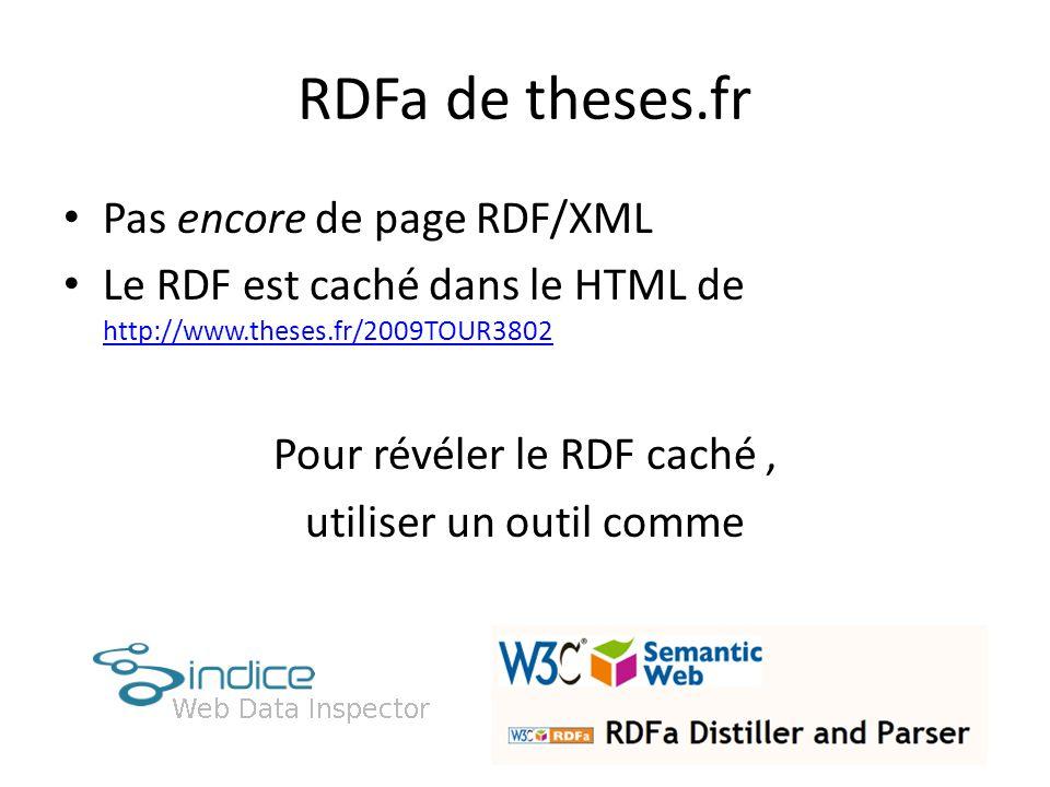 RDFa de theses.fr Pas encore de page RDF/XML Le RDF est caché dans le HTML de http://www.theses.fr/2009TOUR3802 http://www.theses.fr/2009TOUR3802 Pour révéler le RDF caché, utiliser un outil comme