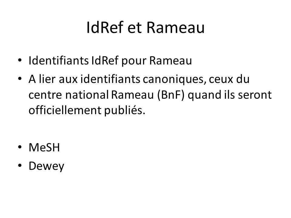 IdRef et Rameau Identifiants IdRef pour Rameau A lier aux identifiants canoniques, ceux du centre national Rameau (BnF) quand ils seront officiellement publiés.