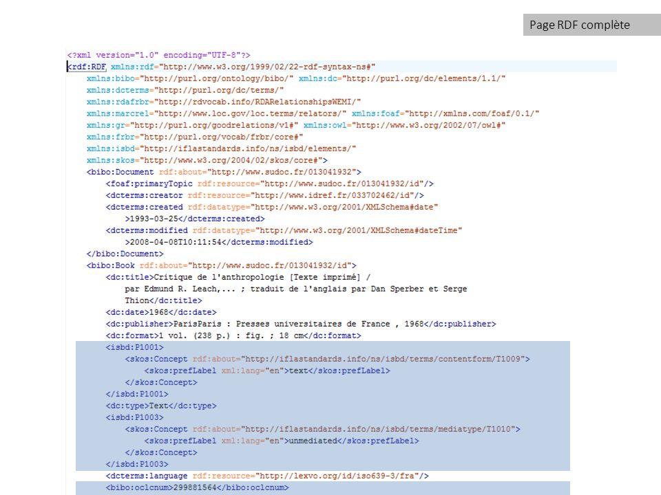 Page RDF complète