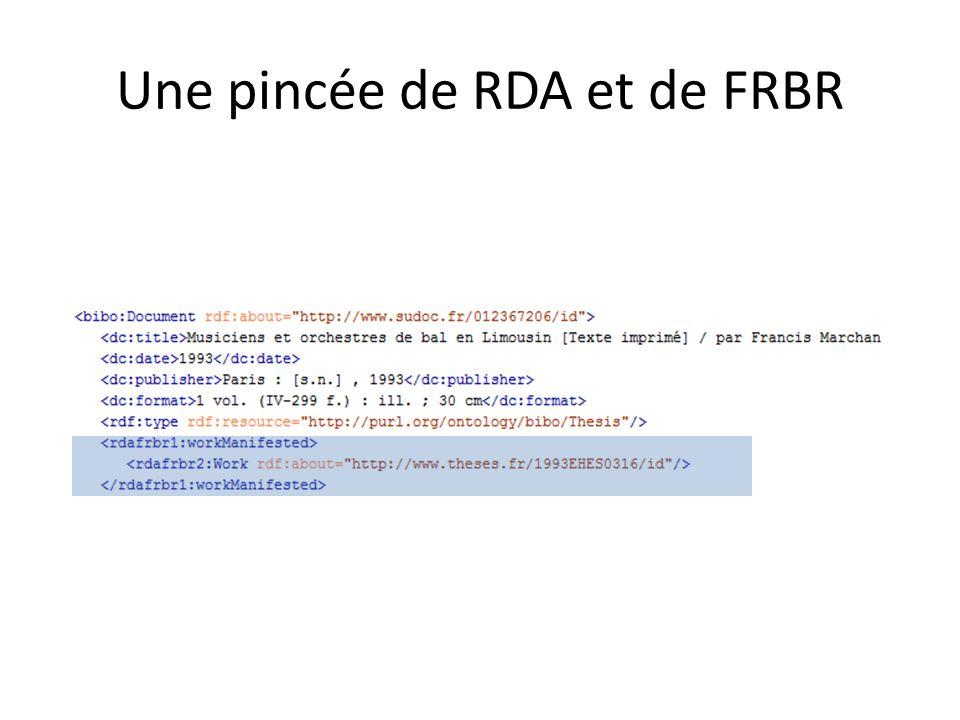 Une pincée de RDA et de FRBR