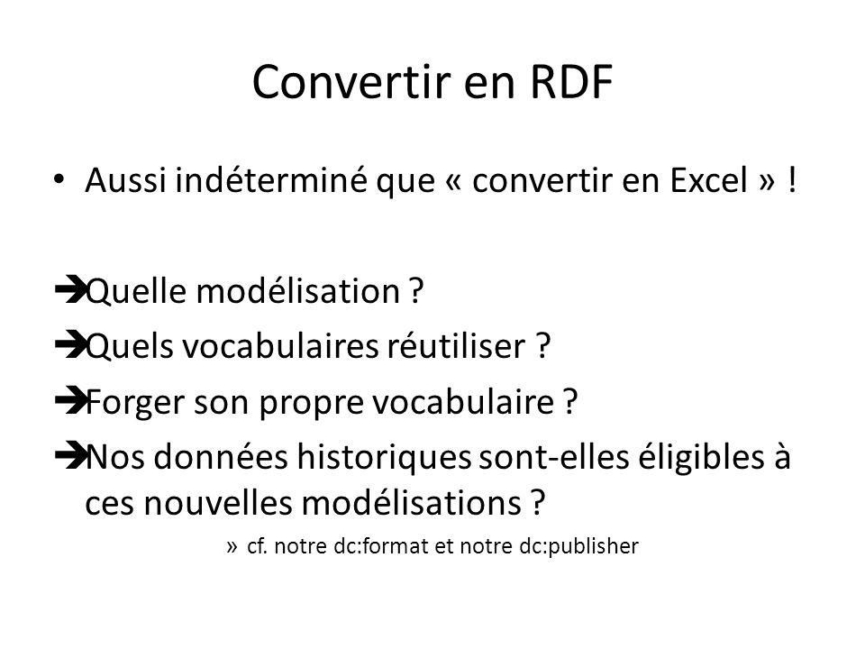 Convertir en RDF Aussi indéterminé que « convertir en Excel » .