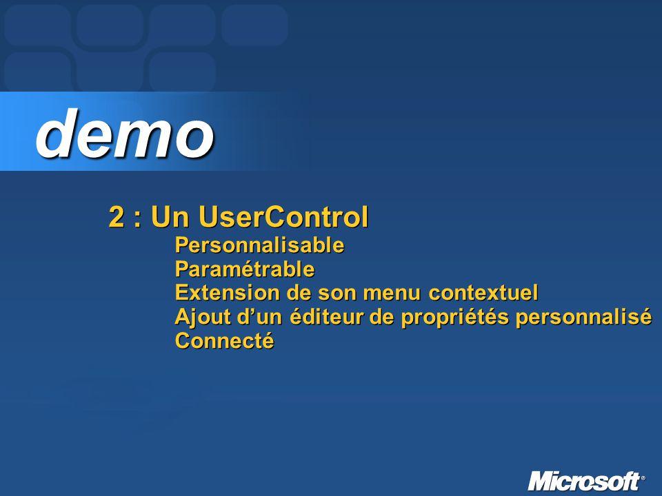 2 : Un UserControl Personnalisable Paramétrable Extension de son menu contextuel Ajout dun éditeur de propriétés personnalisé Connecté demo demo
