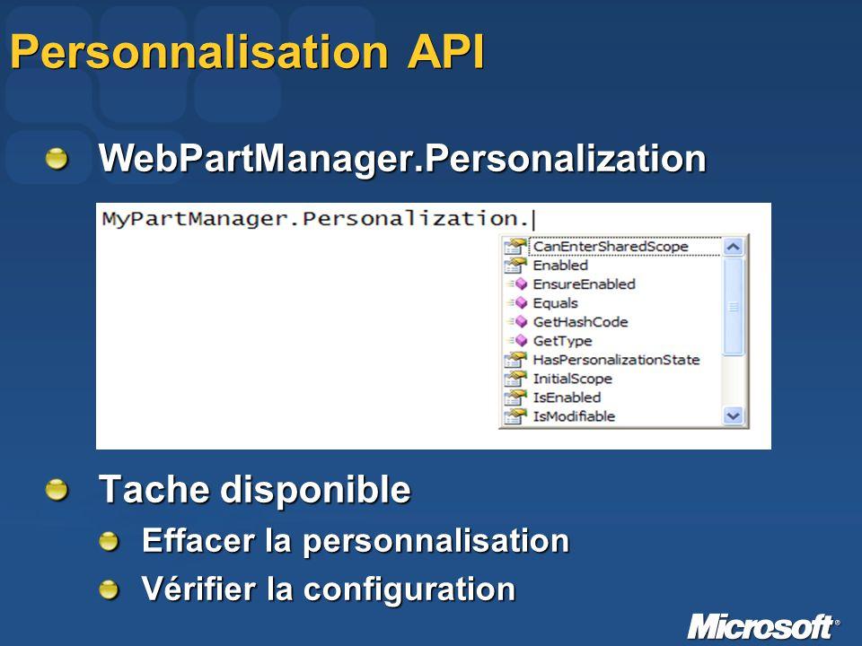 Personnalisation API WebPartManager.Personalization Tache disponible Effacer la personnalisation Vérifier la configuration