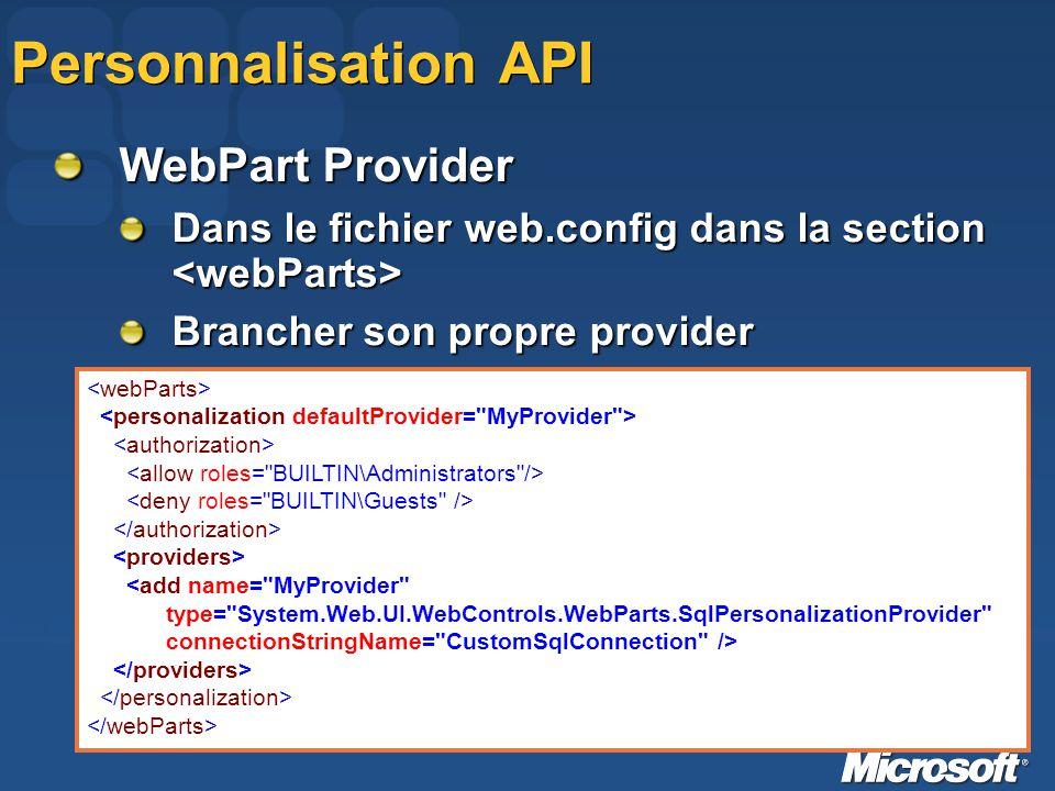 Personnalisation API WebPart Provider Dans le fichier web.config dans la section Dans le fichier web.config dans la section Brancher son propre provid