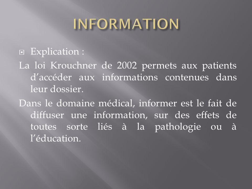 Explication : La loi Krouchner de 2002 permets aux patients daccéder aux informations contenues dans leur dossier.