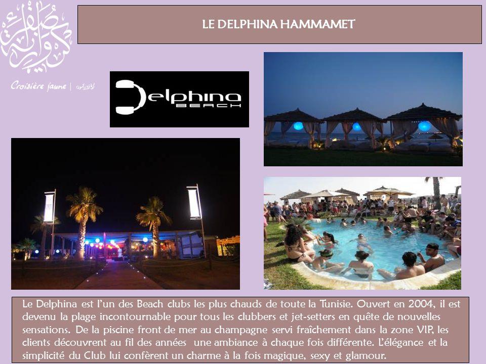 Le Delphina est lun des Beach clubs les plus chauds de toute la Tunisie. Ouvert en 2004, il est devenu la plage incontournable pour tous les clubbers
