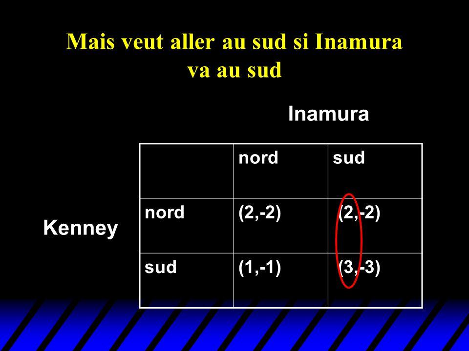 Mais veut aller au sud si Inamura va au sud nordsud nord(2,-2) sud(1,-1) (3,-3) Kenney Inamura