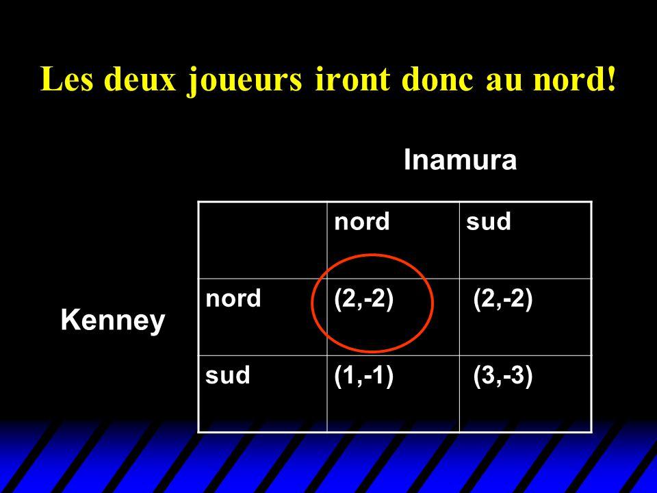 Les deux joueurs iront donc au nord! nordsud nord(2,-2) sud(1,-1) (3,-3) Kenney Inamura